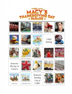 2014 Macys thanksgiving parade bingo cards